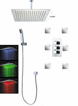 "Bathroom Shower Set with 16"" LED Shower Head  Thermostatic S"
