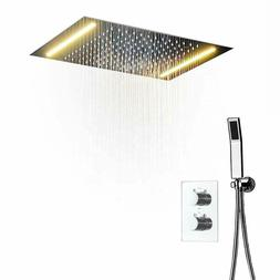 LED Ceiling Mounted Rain Shower System With Handheld Shower